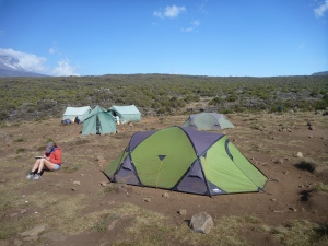 Shira 1 camp - altitude 3500 metres.  A short walk from base camp but still we were passed by the porters!
