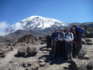 Our last clear view of Kilimanjaro Summit before we drop below the bush line.