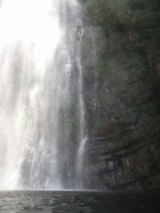 Hugh in the waterfall (centre top).