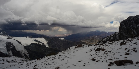 Approaching storm clouds seen from Mt Aconcagua