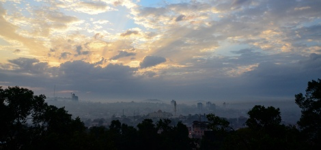 Early morning smoke haze in Kampala, Uganda.