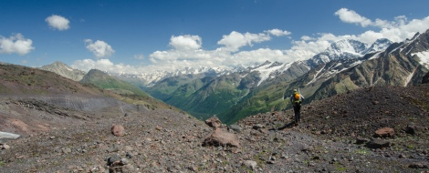 Caucasus Range from southern ridge line of Mt Elbrus.